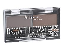 Paletka za obrvi Rimmel London Brow This Way 2,4 g 003 Dark Brown