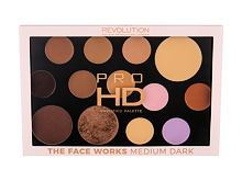 Set ličil Makeup Revolution London Pro HD Amplified Palette The Face Works 27 g Medium Dark