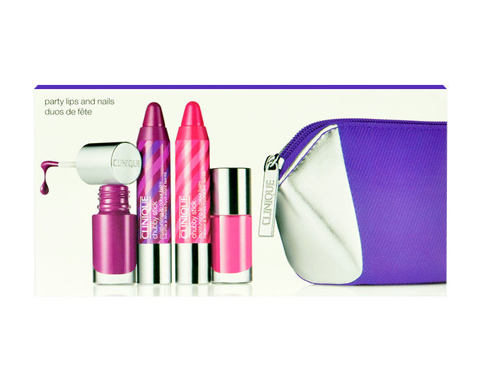 Rdečilo Clinique Chubby Stick Party Lips And Nails 1,2 g 15 Pudgy Peony Seti